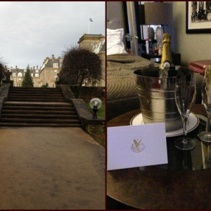 Gleneagles Entrance and Cahmpagne in Room